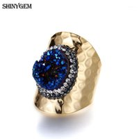 Shinygem Gold Plating Druzy Finger anelli scintillante anelli di cristallo irregolare arcobaleno esagerato grande pietra naturale per le donne1