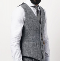 2021 Klasik Kahverengi Damat Yelek Yün Groomsmen Yelek Slim Fit Erkek Elbise İş Takım Elbise Yelek Kısa Yemeği Parti Düğün Kıyafetleri Yelek Elbise