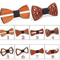 Шея галстуки мода женская одежда модная тощая деревянная бабочка галстук мужская вязать роскошный Tie1