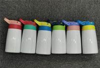 Auf Lager! 12 Unzen Sublimation Sippy Cup Edelstahl Bounce Cups tragbare Kindersport-Wasserflaschen Doppelte Isolierung Becher mit Deckel A12
