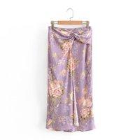 2020 summer women's new style retro high-waisted slim-fitting fold silk satin texture bow trim hem slit print midi long skirt