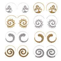 Boho Swirl Серьги Винтаж Античный Золотой Серебряный Круг Изогнутые Серьги для женщин