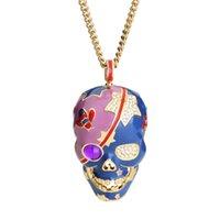 VAROLE Collares Necklace Women Enamel Skeleton Necklaces & Pendants for Woman Vintage skull Choker Statement Necklace Collier Femme