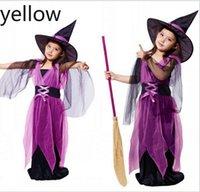 소녀 코스프레 마녀 드레스와 모자 2 개 2020 아이들의 판타지 여자 할로윈 의상 아기 소녀 코스프레 드레스 아기 소녀 옷