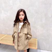 2020 Осень Детские Для девочек Для мальчиков Ветровка куртки Детские хлопка пальто Кнопка Повседневный Верхняя одежда Детская Trench