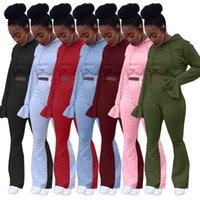 إمرأة رياضية خريف شتاء مثير الصلبة لون متوهج كم متوهج السراويل 2 قطعة القمم مجموعة هوديي Sweatersuit كم طويل