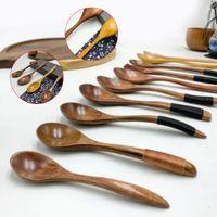 1 unid sopa cucharadita mezclando mango largo cuchara de madera herramienta de cocción de bambú postres ensalada horarios 1pc sopa h bbytfw