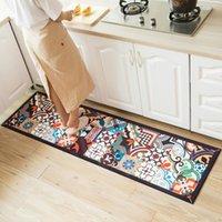 인쇄 된 주방 매트 세트 더러운 긴 카펫 복도 Doormat 침대 옆 바닥 매트 미끄럼 방지 물 흡수 욕실 깔개
