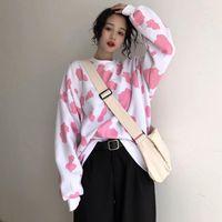 Gevşek Moda Kazak O Boyun Uzun Kollu Rahat Beyaz Pembe Baskı Tatlı Yeni Bayanlar Sonbahar Kazak Sweatshirt1
