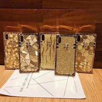 Cassa degli scintillio oro quadrato di lusso per iPhone XR XS Max 11 Pro 6 7 Fashion Morbly Frame Cover per iPhone 12 Mini 12 Pro Max 8 Plus