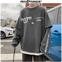Privathinker Harajuku de gran tamaño con capucha Hombres letra de la manera Imprimir hombre camisetas ocasionales falso de dos piezas de Calle Jerseys 201020