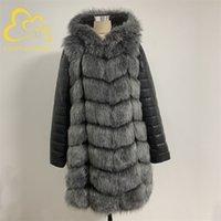 Fanpuguizhen inverno grosso quente falso casaco de pele de pele: Zipper mulheres plus tamanho manga longa removível e jaqueta de pele falso de faux 201212