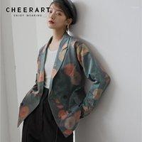 빙어 빈티지 녹색 꽃 무늬 인쇄 블레이저 여성 가을 2020 느슨한 패션 블레이저 및 재킷 코트 슈트 디자이너 가을 자 켓 1