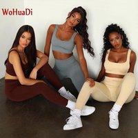 Wohuadi 2021 Nahtlose gestrickte sexy sport bh yoga wear gym fitness anzug frauen kleidung u-neck weste set sportswear weiblich1