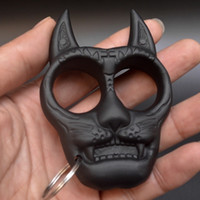 Creative Hard Mini Head Fist Clasp Ring Two Finger Tiger Key Chain Amulet Pendant for Women's Self-defense Weapon Cat Rings