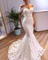 Élégante sirène robes de mariée manches courtes 2021 dentelle Applique balayage train Custom Made Taille Plus mariage robe de mariée Robe de Novia