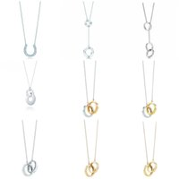Original TIFF 925 Sterling Silver Fashion Anillo de herradura estilo entrelazado estilo elegante tendencia bricolaje collar colgante joyería regalo