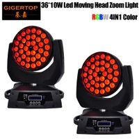 Mükemmel Parlaklık 15-60 Derece Yakınlaştırma işlev Baş ışık yıkama ışın Sahne etkisi Hareketli 2pcs / lot 36x10W RGBW 4in1 Mini LED