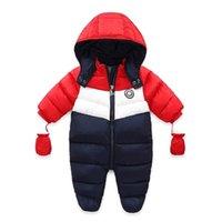 아기 소년 겨울 오리 스노우트 신생아 두꺼운 겉옷 rompers 양털 라이너 아기 눈 착용 후드 Jumpsuit 어린이 옷 201030