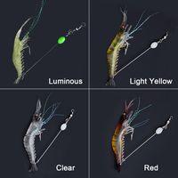 Alta simulación luminosa suave silicona cebo artificial camarones pesca camarón brema falso señuelo cebos con gancho de púas