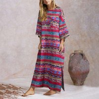 Günlük Elbiseler Vintage Sundress Kadınlar Bohemian Baskılı Maxi Uzun Elbise Retro Desen Parti 2021 Vonda Robe Artı Boyutu