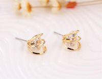 Pendientes pendientes geométrica de lujo de 18 quilates chapado en oro Pendientes de Corea hueco afiligranada elegante circón