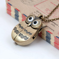 Students lovely quartz new style open owl pocket watch necklace vintage jewelry wholesale Korean sweater chain fashion watch hanging watch