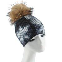 Berretto / cranio tappi invernali tie-dye berretti a maglia per le donne vera pelliccia di pelliccia di lana cappello in lana cappello morbido caldo crancondo