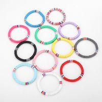 Mujeres 6mm Bohemio Coloridas pulseras de arcilla para las mujeres Verano Playa Charm Elástico Soft Potrimonio Pulsera hembra Boho Jewelry 122 m2