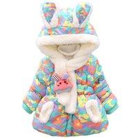 Bibihou inverno coelho cute bebê jaqueta grossa algodão-acolchoado bebê menina outerwear bebê meninos parka garotas meninas neve desgaste 201016