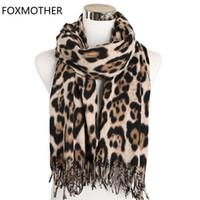 Foxmother Winter Leopard Sciarpa Donna Cashmere Scialle Scialle Animale Stampa Scarpa lunga Sciarpa Acciaio Accesorios Mujer Silenziatore Femmina 2020 J1215