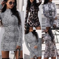 Sexy Women Dresses Fashion Snake Printing Long Sleeve Stand ...