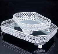 Otel Büyük Metal Plaka Gümüş Dikdörtgen Ayna Kek ServingTray Parti ve Düğün Dekorasyon Kek Tepsisi Düğün 46674653