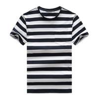 2021 새로운 고품질 순수한 면화 새로운 둥근 목 스트라이프 반팔 티셔츠 반팔 남자 티셔츠 캐주얼 스포츠 남자 티셔츠 큰
