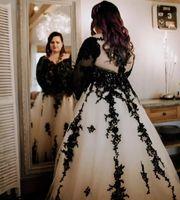 Plus Size A Linha do casamento vestido preto apliques oco Voltar Com Trem longo vestidos de noiva Custom Made Tulle V vestidos de casamento do pescoço