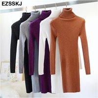 Ezsskj alto elasticidade outono inverno camisola vestido mulheres quente feminino turtleneck malha bodycon elegante glitter clube vestido ol t200106