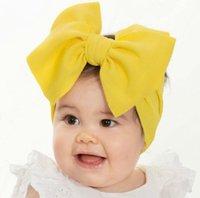 모든 아기 큰 활 여자 머리 띠 7 인치 큰 bowknot 헤드 랩 키즈 활 머리 면화 와이드 헤드 터번 유아 신생아 헤드 밴드 GD1171
