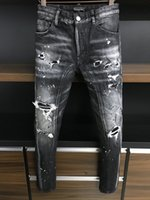 DSQ Jeans Jeans Jeans Mens Luxury DesignerJeans Skinny Skinny Rapped Cool Guy Causal Hole Denim Jean Fashion Brand Fit Jeans Uomo Pantaloni lavati 6869