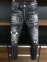 DSQ الجينز الرجال الجينز رجل الفاخرة designerjeans نحيل ممزق بارد الرجل السببية هول الدينيم جان الأزياء ماركة صالح جينز الرجال غسلها بانت 6869