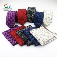 Hommes Cravate polyester Set 2 PCS Narrow Neck Tie 6cm de haute qualité Pocket Slim place Skinny hommes Tie Mouchoir Costume Set Cravat