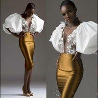 Exagerada Sheer Luva de Ouro Bainha Vestido Sul Africano Neck apliques Prom Vestidos Mulheres Magro Cocktail Party Vestidos Custom Made