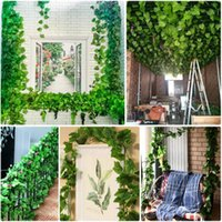 Üzüm Yaprakları Sahte Creeper Yeşil Yaprak Ivy Vine Ev Partisi Bahçe Dekorasyonu 2.1 M Yapay Bitkiler Dekorasyon Rattan Yaprak1