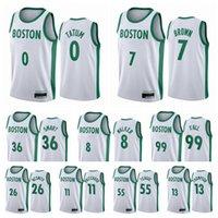 Jayson 0 Tatum Jersey Jaylen 7 maglie marroni Bostons Team Jersey Kemba 8 Walker Basket Blackball Marcus 36 Smart Jersey 2021 New City Uniform
