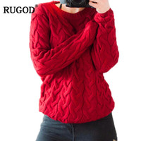 RUGOD 2020 femmes Bonneterie printemps Twisted Chandails et pull-overs printemps en vrac hiver Maille O manches longues SWETER mujer