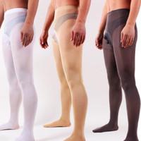 Mäns strumpor slim pantyhose penis täcker tights för manlig underkläder gay sexig erotisk underkläder mens varma sammet strumpor sex roligt slitage