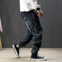 Japon Tasarımcı Moda Erkek Jeans Vintage Harem Jeans Erkekler Kargo Pantolon Retro Mavi Gevşek Fit Hip Hop Koşucular Homme Ripped
