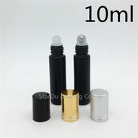 200pcs / lot 10ml rouleau noir sur la bouteille de parfum, bouteille rollon à huile essentielle black 10 ml, petit conteneur à rouleaux de verre