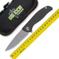Verde personalizado espinho F95 HATI cabo da faca dobrável fibra de carbono TC4 titânio acampamento ao ar livre táticas de frutas faca EDC ferramentas de caça