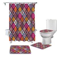 Mandala Marrocos Shower Curtain Define antiderrapante Tapetes WC tampa de cobertura e tapete de banho Cortinas à prova d'água do banheiro