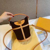 إمرأة وزمان جلدية مربع أكياس اليد s-lock قفل قماش دلو العجل واحد nono الكتف حقيبة يد m43587